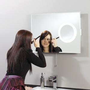 EL-KEA IP44 Backlit Mirror with Maginification Area and shaver socket