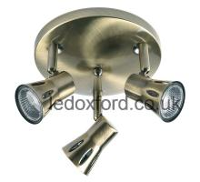 Endon 813 AN ceiling fitting with three spotlights in antique brass