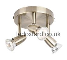 EL 10107 triple spotlight for ceiling in antique brass