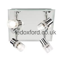 Endon EL-174 four spotlight bathroom ceiling light with mirror back IP44