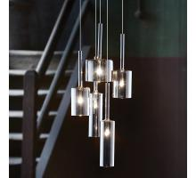 Endon Gable Range Glass Pendants red and smoked glass